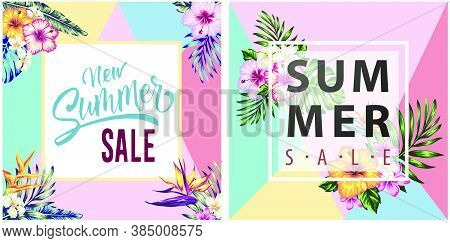 Set Vintage Frame Tropical Flowers And Palm Leaves For Social Media Posts, Stories And Photos, Edita