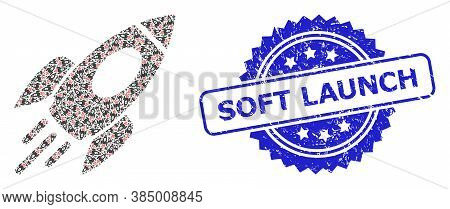 Soft Launch Textured Seal And Vector Recursive Mosaic Space Rocket. Blue Stamp Seal Contains Soft La
