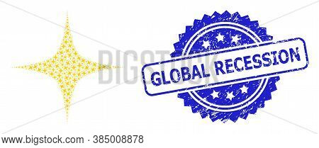 Global Recession Rubber Stamp Seal And Vector Recursive Composition Space Star. Blue Stamp Seal Incl