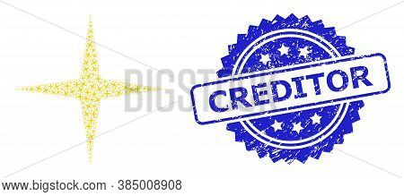 Creditor Grunge Stamp Seal And Vector Recursion Collage Space Star. Blue Stamp Seal Includes Credito