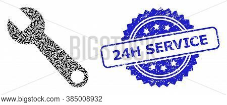 24h Service Dirty Seal And Vector Fractal Collage Spanner. Blue Stamp Seal Includes 24h Service Text