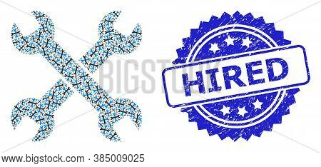 Hired Textured Stamp And Vector Recursion Collage Spanners. Blue Stamp Seal Includes Hired Tag Insid