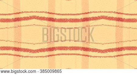 Summer Tartan Pattern. Watercolour Plaid Border. Wool Stripes For Fabric Design. Seamless Red Tartan