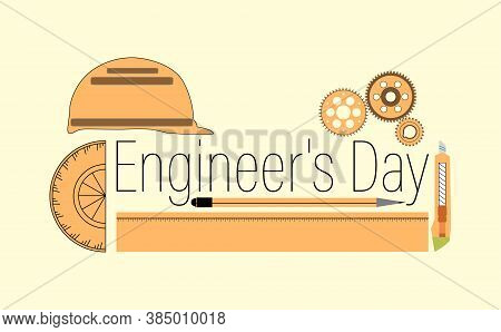 Vector Illustration Of Engineer's Day India. 16th September. Background With Construction Instrument