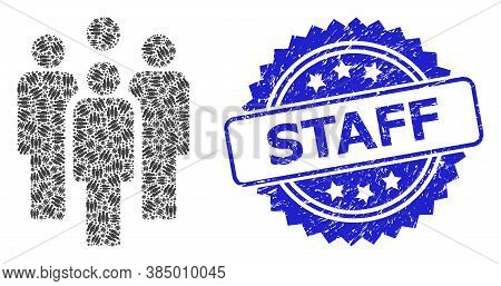 Staff Scratched Stamp Seal And Vector Fractal Mosaic Staff. Blue Stamp Seal Contains Staff Text Insi