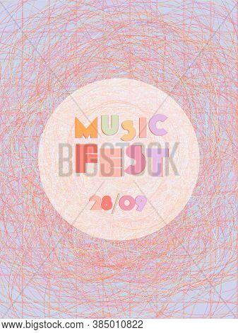 Music Cover In Blue, Cyan, Pink, Orange Colors. Rock Concert Flyer. Minimal Tech Brochure. Sound Bac