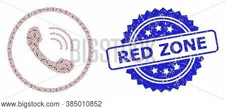 Red Zone Rubber Seal And Vector Recursive Collage Telephone Call. Blue Seal Has Red Zone Text Inside