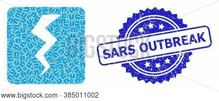 Sars Outbreak Dirty Stamp Seal And Vector Recursion Collage Thunder Crack. Blue Stamp Seal Has Sars