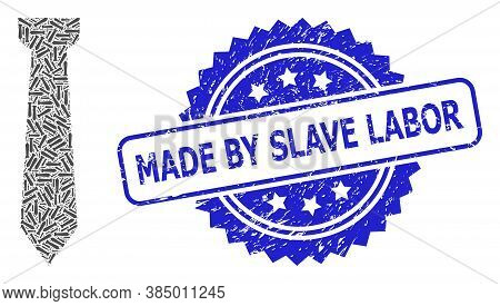 Made By Slave Labor Unclean Seal Imitation And Vector Recursive Collage Tie. Blue Stamp Contains Mad