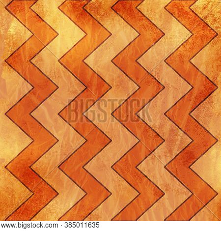 Orange Background Zigzag Pattern In Light Orange With Cool Grunge And Textured Wrinkles And Medium O