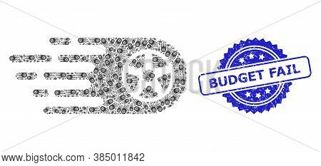 Budget Fail Rubber Seal And Vector Recursion Collage Tire Wheel. Blue Stamp Seal Contains Budget Fai