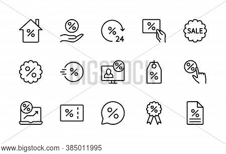 Business Sales And Discount, Vector Linear Icons Set. Sale Management. Coupon, Percent Ribbon, Onlin