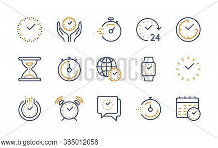 Time And Clock, Vector Color Linear Icons Set. Time Management. Timer, Speed, Alarm, Recovery, Time