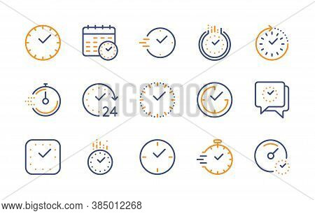 Time And Clock, Vector Color Linear Icons Set. Timer, Smartwatch, Time Management, 24 Hour Clock, Ca