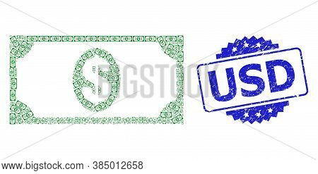 Usd Dirty Stamp Seal And Vector Recursive Composition Usd Banknote. Blue Stamp Seal Has Usd Tag Insi