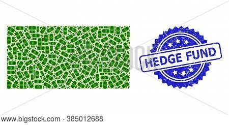 Hedge Fund Textured Seal Print And Vector Recursive Mosaic Usd Banknote. Blue Stamp Seal Contains He