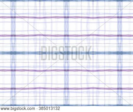 Red And Blue Tartan Prints. Seamless Textured Design. Scottish Check Fabric. Rustic Simple Material.