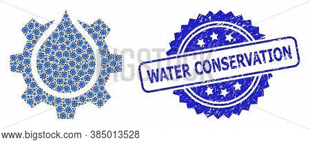Water Conservation Corroded Stamp Seal And Vector Fractal Mosaic Water Gear Service. Blue Stamp Seal