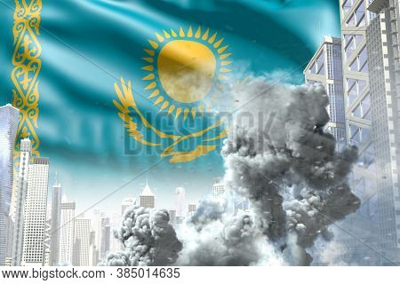 Big Smoke Column In The Modern City - Concept Of Industrial Catastrophe Or Act Of Terror On Kazakhst