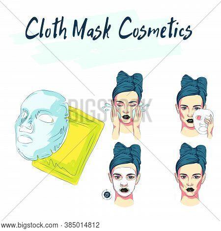 Masking, Sketch Of Cosmetics, Girl Uses Face Masks