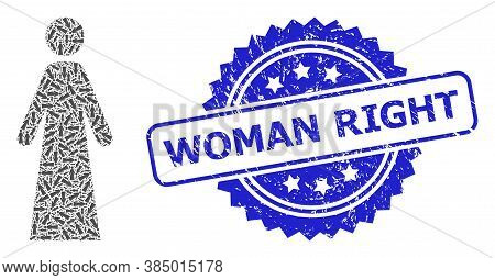 Woman Right Grunge Stamp Seal And Vector Recursive Collage Woman. Blue Stamp Seal Has Woman Right Te