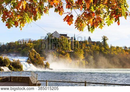 Rheinfall - The Biggest Waterfall In Europe In Colorfull Fall Season