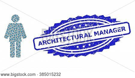 Architectural Manager Grunge Seal Print And Vector Fractal Mosaic Worker Person. Blue Stamp Seal Has