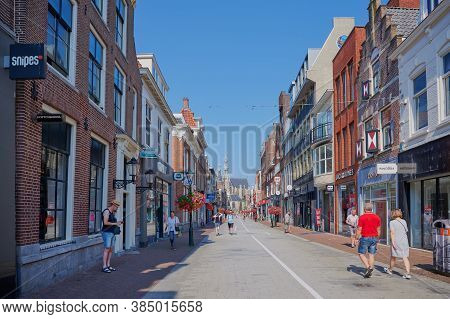 Alkmaar, Netherlands - August 12, 2020: Shopping Street In The City Of Alkmaar, Netherlands.