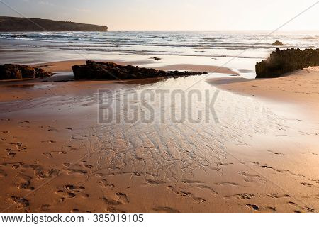 Armoeira Beach In South-west Alentejo And Costa Vicentina Natural Park At Sunset, Portugal, Aljezur