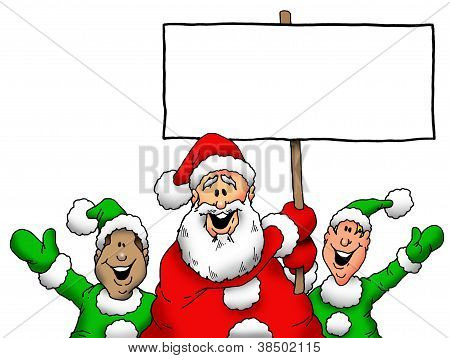 Santa and Elves With Blank Sign