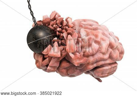 Brain Destroying By Wrecking Ball. Pain In Head, Brain Disease Concept. 3d Rendering Isolated On Whi