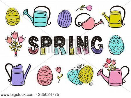 Spring Lettering. Elements For Seasonal Calendar. Hand-drawn Ice Cream, Watermelon, Lemonade, Kite A