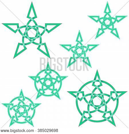 Vector Illustration Of Interlaced Star In Celtic Style Surrounded By Circle, Easy To Edit And Change