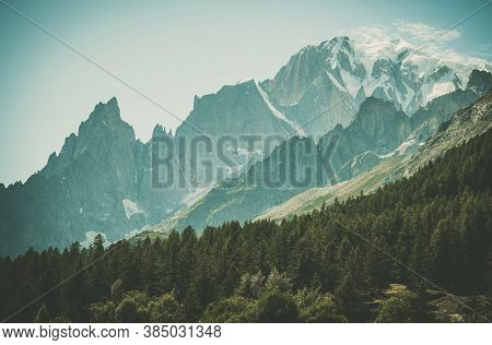 Souther Side Of Mont Blanc Massif In The Italy. Snowy Peak Of Mont Blanc And Beautiful Val Ferret Al