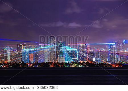 Miami Night. Miami Skyline At Night - Panoramic Image. City Lights