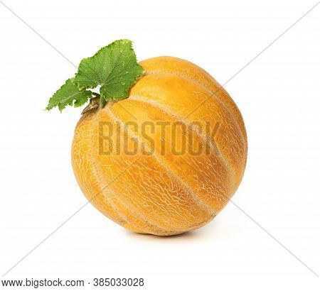 Round Yellow Ripe Melon Isolated On White Background, Close Up