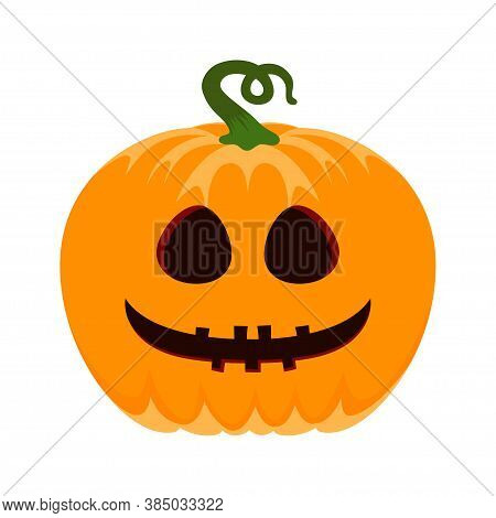 Halloween Pumpkin With Scary Face On White Background, Vector Cartoon Illustration, Halloween Pumpki