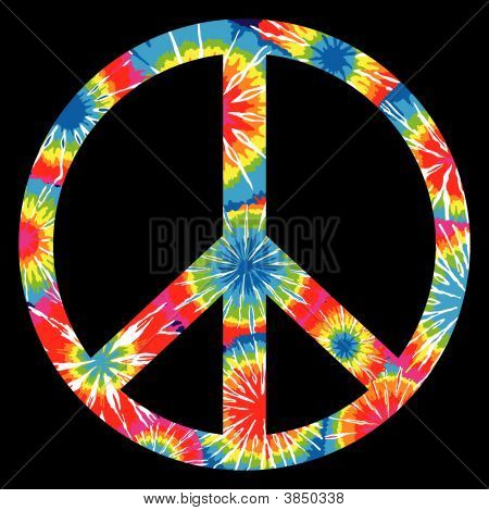 Multi Colored Tie Dyed Peace Symbol / Sign poster