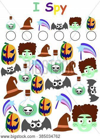 Amusing Halloween Activity I Spy Game Stock Vector Illustration. Find And Calculated All Subjects Gr