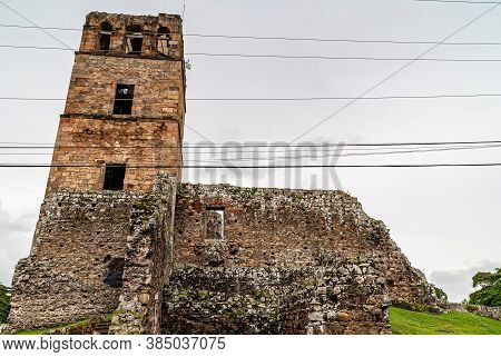 Panama City, Panama - November 30, 2008: Brown Stone Tower And Nave Wall Of Ancient Cathedral In Rui