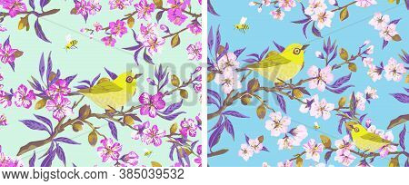 Seamless Pattern Blossoming Almond Branch With Pink Flowers And Yellow Bird. Illustration With Sprin