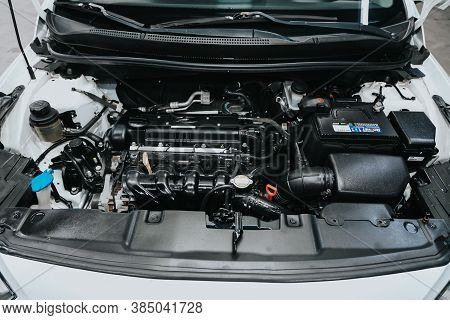 Novosibirsk, Russia - September   05, 2020 : Hyundai Solaris, Close Up Detail Of  Car Engine, Front