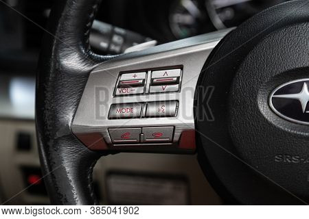 Novosibirsk, Russia - August  07, 2020 : Subaru  Outback,modern Black Steering Wheel With Multifunct