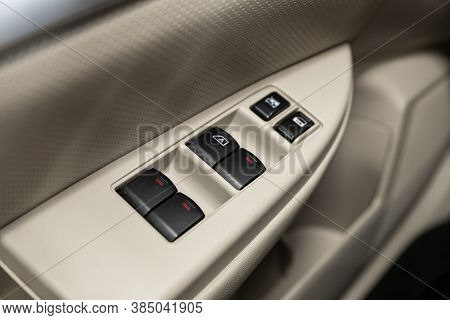 Novosibirsk, Russia - August  07, 2020 : Subaru  Outback, Closeup Of A Door Control Panel In A New C