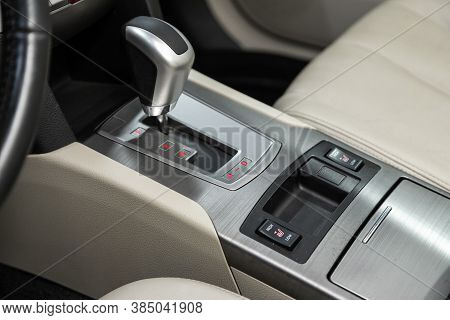 Novosibirsk, Russia - August  07, 2020 : Subaru  Outback, Gear Shift. Automatic Transmission Gear Of