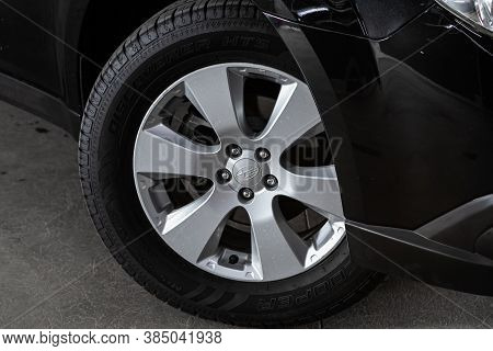 Novosibirsk, Russia - August  07, 2020 : Subaru  Outback,  Close-up Of The Bumper, Alloy Wheel, Car