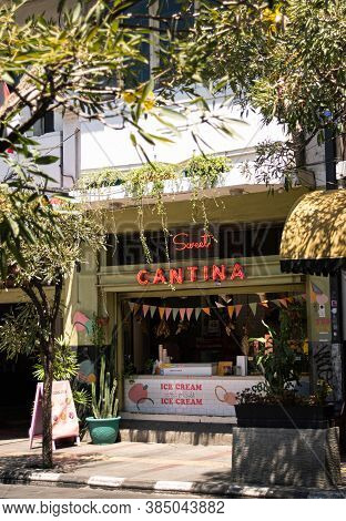 Bandung City, West Java / Indonesia - 26 August 2020: An Ice Cream Cafe With Kiosk Sty, Designed In