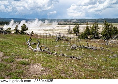 Volcanic Tableland Area Of Fountain Paint Pots Trails And Geyser Area In Yellowstone National Park