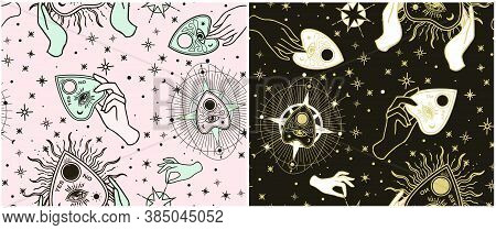 Set Seamless Pattern. Vintage Fortune. Hands With Ouija. Sketch Graphic Illustration With Mystic And