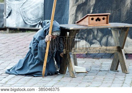 Russia. Vyborg. 08.22.2020 Theater Actor Dressed As A Monk At The Festival Of The Middle Ages